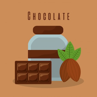 Barra de chocolate y botella de crema de cacao