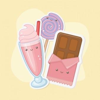 Barra de chocolate dulce y dulces kawaii personajes.