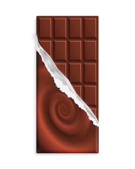 Barra de chocolate con leche en una envoltura con remolino