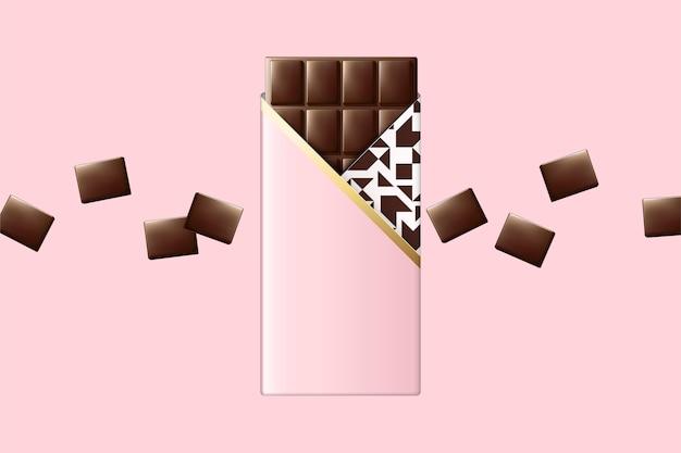 Barra de chocolate con paquete en blanco rosa