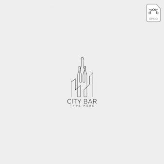 Barra de la ciudad, bebida club creativo logo plantilla vector ilustración
