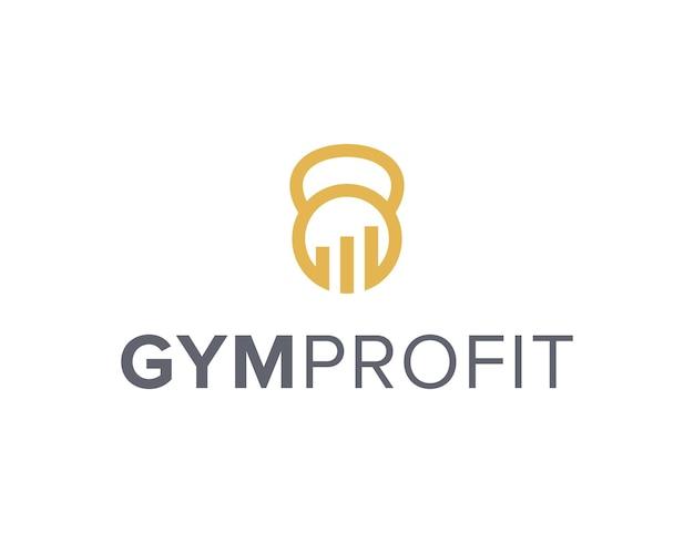 Barra de ganancias y contorno de gimnasio simple elegante creativo geométrico moderno diseño de logotipos gimnasio fitness estilo de vida