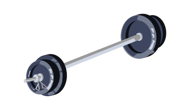 Barra con gran peso, equipo para entrenamiento deportivo en el gimnasio, ilustración vectorial de dibujos animados