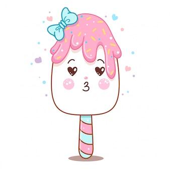 Barra de helado de vector lindo con arco y esmalte rosa.