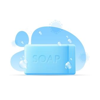 Barra de jabón azul con pompas de jabón voladoras sobre un fondo aislado