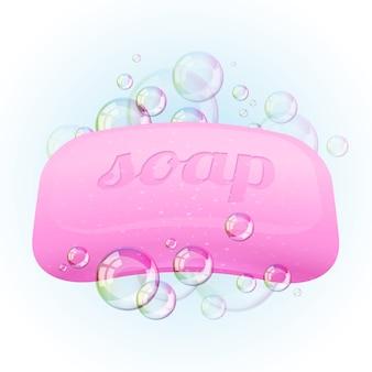 Barra de jabón con burbujas - ilustración.