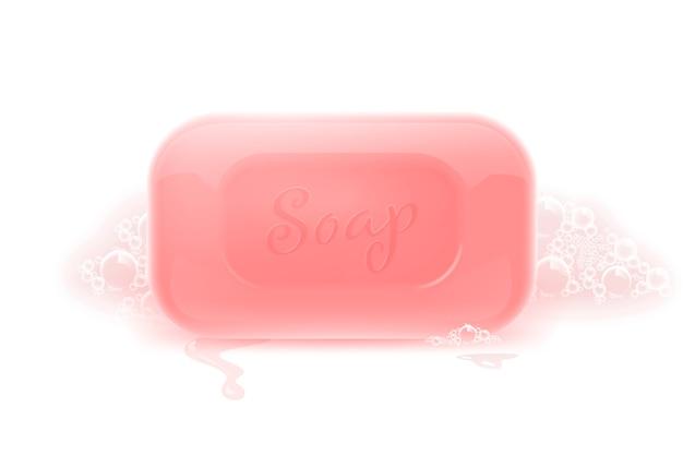 Barra de jabón con espuma de cerca