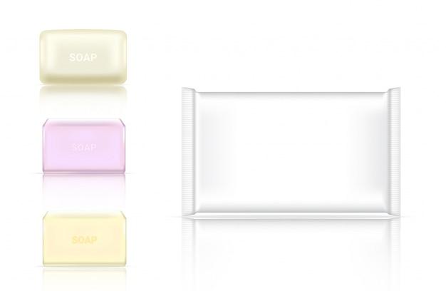 Barra de jabón realista 3d empaquetado cosmético
