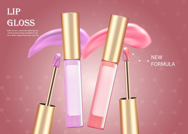 Barra de labios líquida rosa y lila en tubo. maquillaje.