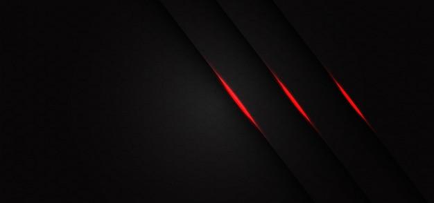 Barra de línea de luz roja triple abstracta sobre fondo futurista moderno de diseño de patrón de malla hexagonal gris oscuro.