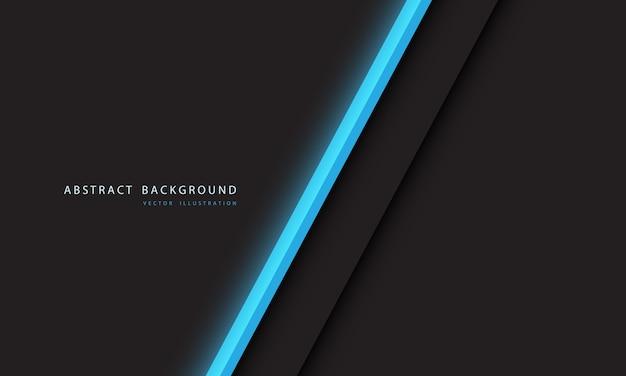 Barra de línea de neón de luz azul abstracta sobre fondo gris oscuro