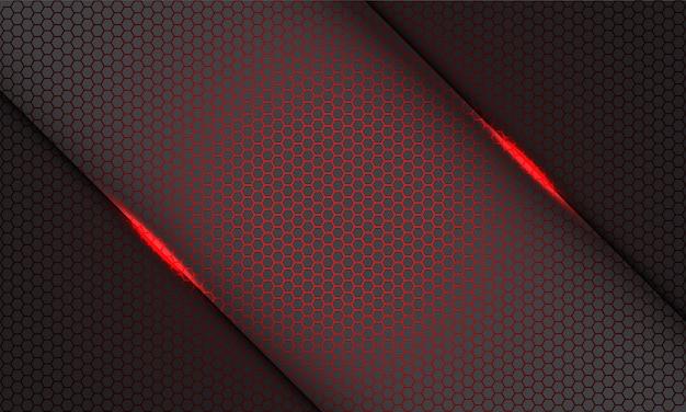 Barra de luz de patrón de malla hexagonal rojo abstracto en gris sobre fondo gris de tecnología futurista moderna