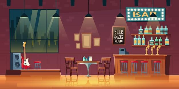 Barra de música, interior vacío de dibujos animados de pub con letrero iluminado