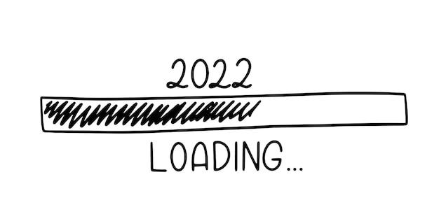 Barra de progreso en el estilo de dibujo doodle. 2022 cargando imagen de icono. ilustración de vector dibujado a mano.