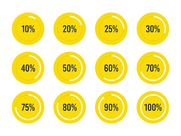 Barra de progreso de interfaz de usuario circular con números de porcentaje establecidos