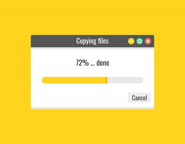 Barra de progreso de la plantilla de copia de archivos