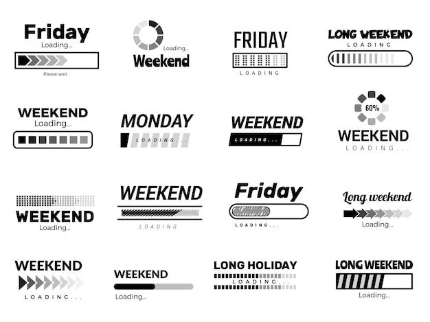 Barra de semana de carga. imágenes de cotización web de interfaz de interfaz de usuario de negocios días de semana perezosos vector imágenes divertidas. descargar ui, descargando motivación esperando vacaciones