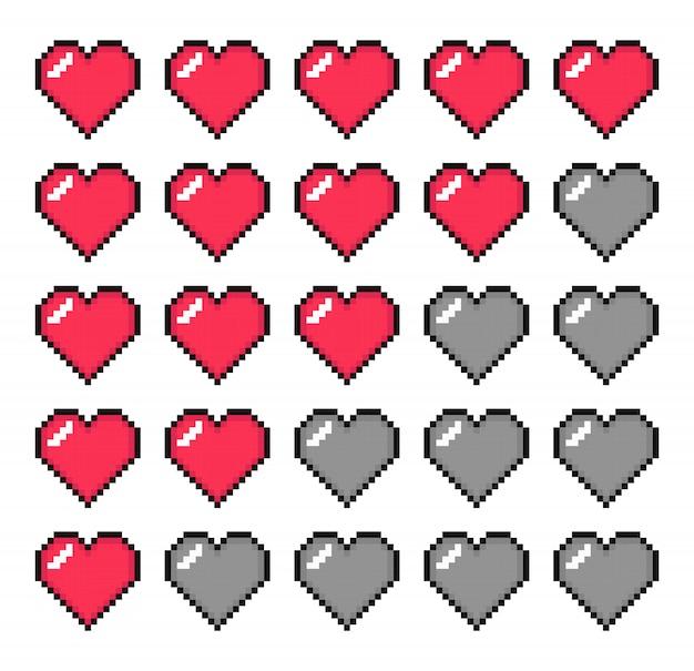 Barra de vida. barra de salud. arte de pixel.