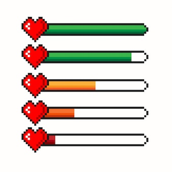 Barra de vida del juego de píxeles aislada sobre fondo blanco. barra de corazón de salud. controlador de juegos, conjunto de símbolos.