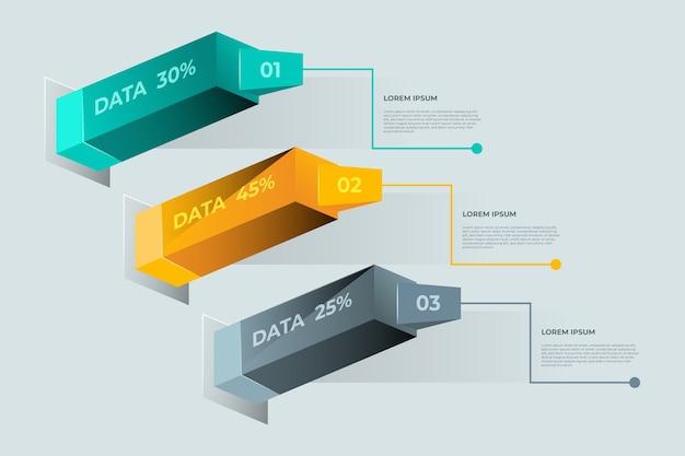 Barras 3d de infografía