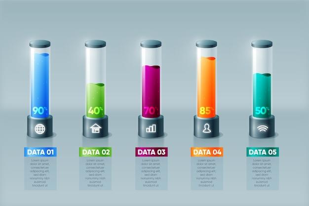 Barras 3d de plantilla infografía