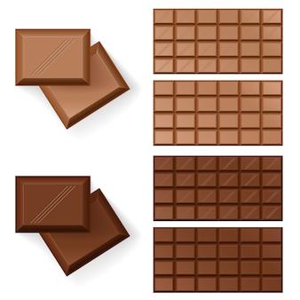 Barras de chocolate en blanco
