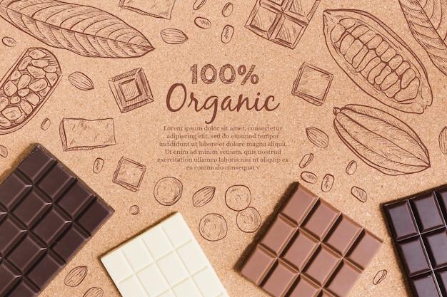 Barras de chocolate orgánico vista superior