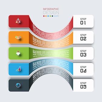 Barras horizontales con infografías de iconos de negocios.