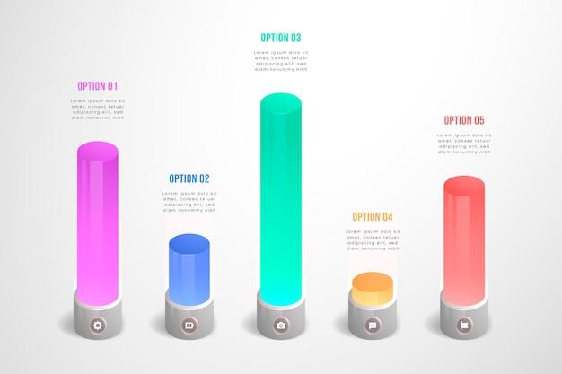 Barras infográficas con diseño colorido