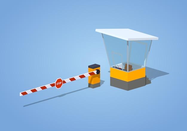 Barrera isométrica 3d y cabina de peaje.