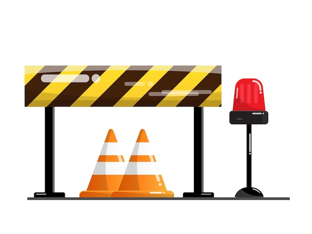 Barrera vial y calle, señal de advertencia de tráfico