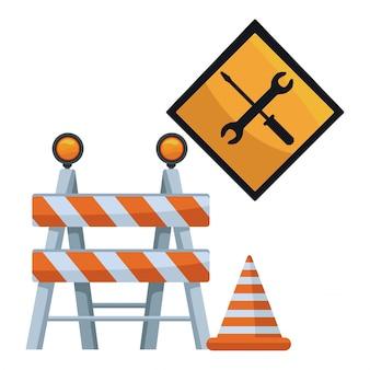 Barricada y señal de tráfico con herramientas y cono de construcción