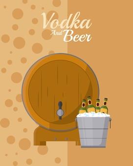 Barril de cerveza y botellas dentro de cubo de hielo