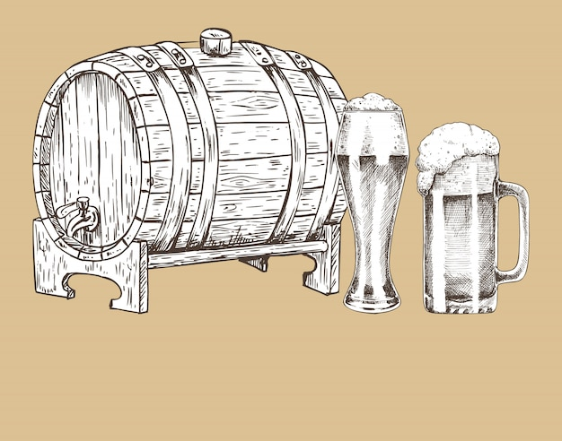 Barril de cerveza y vidrio vintage cartel dibujado a mano