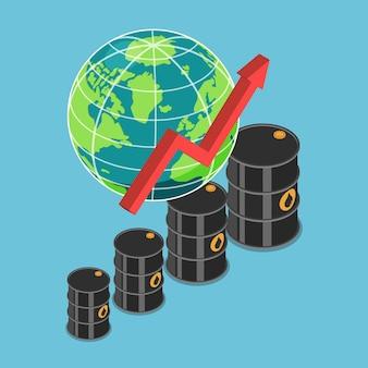 Barril de aceite isométrico y gráfico ascendente con el mundo