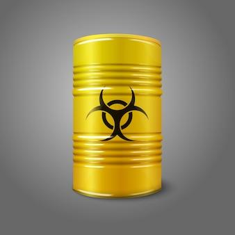 Barril grande amarillo brillante realista con señal de peligro biológico