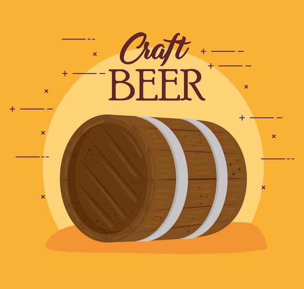 Barril de madera de cerveza artesanal, diseño de ilustraciones vectoriales