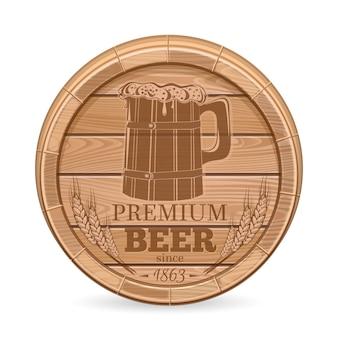 Barril de madera con emblema de cerveza. etiqueta de cerveza en forma de barril de madera. ilustración