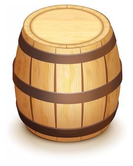 El barril de madera de roble para el vino se coloca verticalmente. aislado en blanco