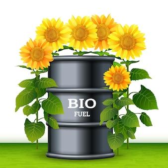 Barril de metal con biocombustible y fondo de diseño de girasoles. concepto de plantas de biocombustible