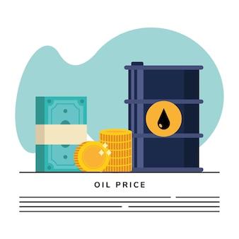 Barril de petróleo con iconos de dólares de dinero