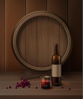Barril de vector en el stand con botella de vino, vaso de vino tinto y uvas aisladas sobre fondo
