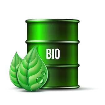 Barril verde de biocombustible con palabra bio y hojas verdes sobre fondo blanco, medio ambiente conceptual. .
