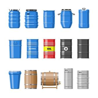 Barriles de aceite de barril con combustible y vino o cerveza en barriles de madera ilustración barriles de alcohol en contenedores o conjunto de almacenamiento aislado sobre fondo blanco.