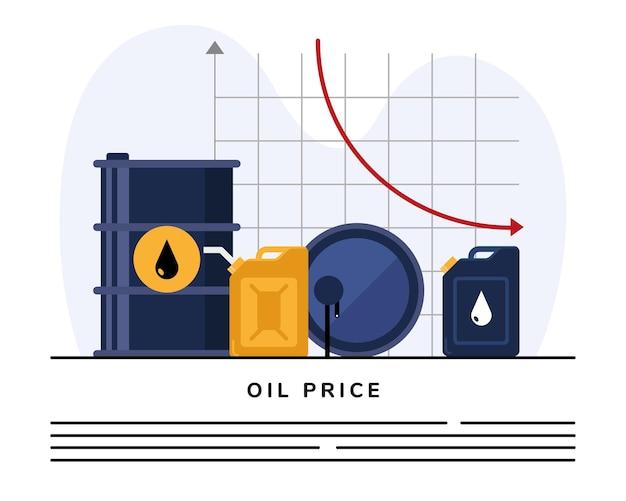 Barriles y galones de aceite con estadísticas infográficas.