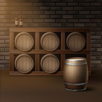 Barriles de madera de vector para vino en la bodega de la bodega aislado en la pared de ladrillos de fondo