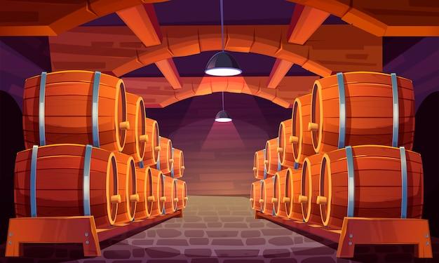 Barriles de madera con vino en bodega