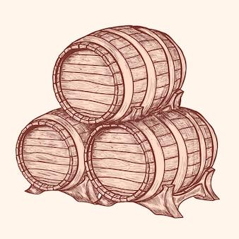 Barriles de maderas viejas