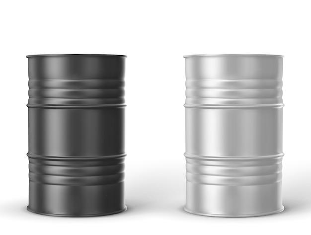 Barriles de metal negro, blanco sobre fondo blanco.