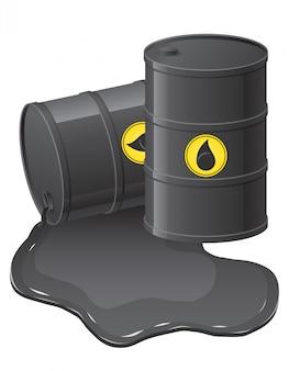 Barriles negros con aceite derramado.